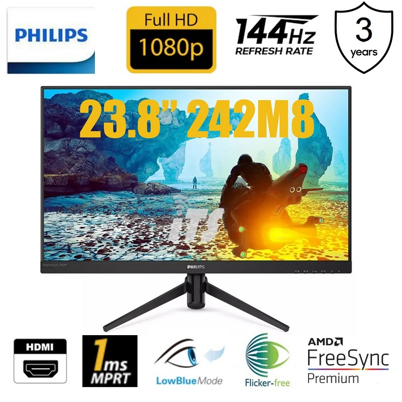 "Philips 23.8"" 242M8 1ms 144Hz FHD IPS Monitor (Free-Sync Premium)"