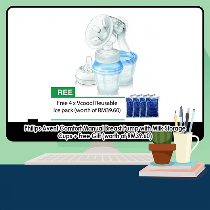 Philips Avent Comfort Manual Breast Pump with Milk Storage Cups + Free 9a852da429794