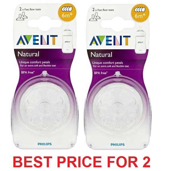 Philips Avent Natural Range Silicone Teats 6m+ Fast (2 packs)