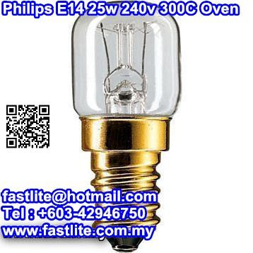 Philips E14 25w 235v 300C T22 clear Oven Bulb
