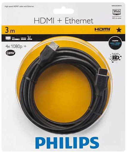 PHILIPS HDMI (M) TO HDMI (M) + ETHERNET 3M CABLE (SWV2433W/10)
