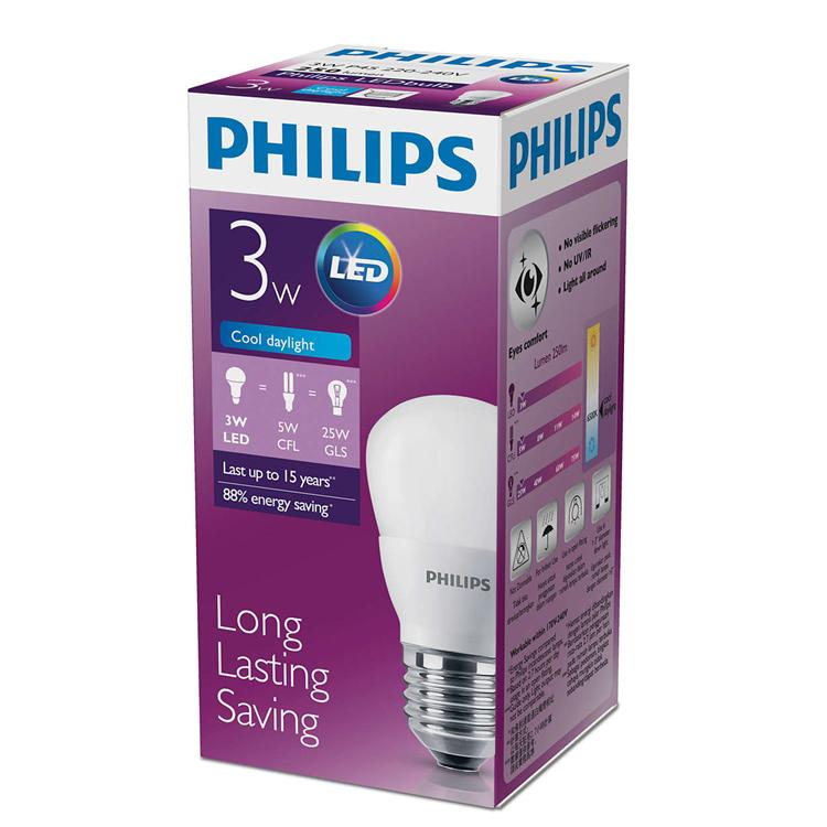 Philips LED Bulb E27 3W 6500K Cool Daylight lighting replacement DIY