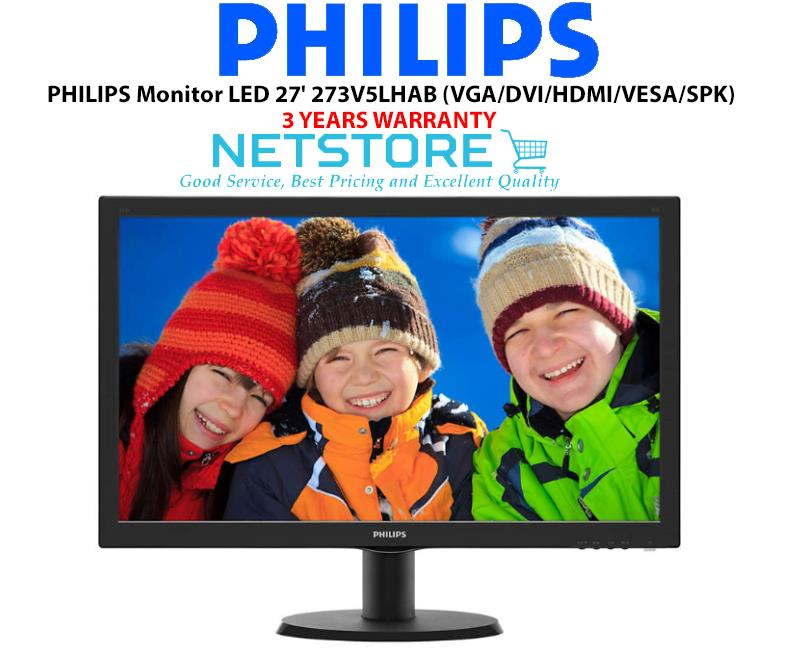 PHILIPS Monitor LED 27' 273V5LHAB (VGA/DVI/HDMI/VESA/SPEAKER)