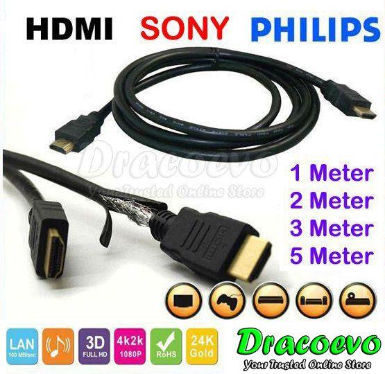Philips Sony Gold Plated HDMI Cable 1M 1.5M 2M 3M 5M HD 1080P