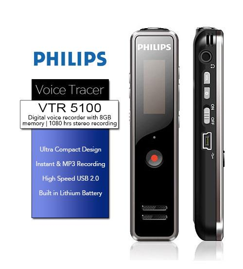 Philips VTR5100 Voice Tracer Digital Recorder In MP3 Format With + 8GB