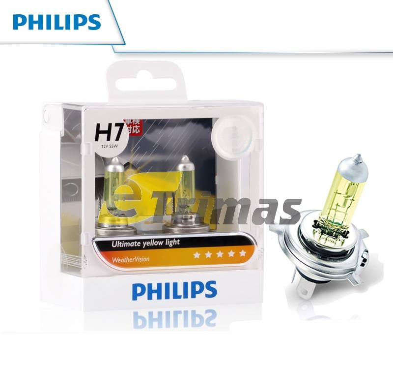Philips Weather Vision 2900K Best For Haze Mist H1/H3/H4/H7/HB4