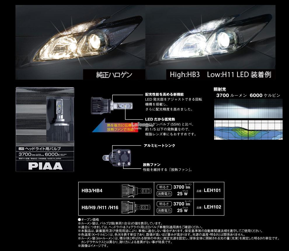 PIAA LEH102 6000K H8 H9 H11 H16 Headlight 3700lm LED Conversion Kit