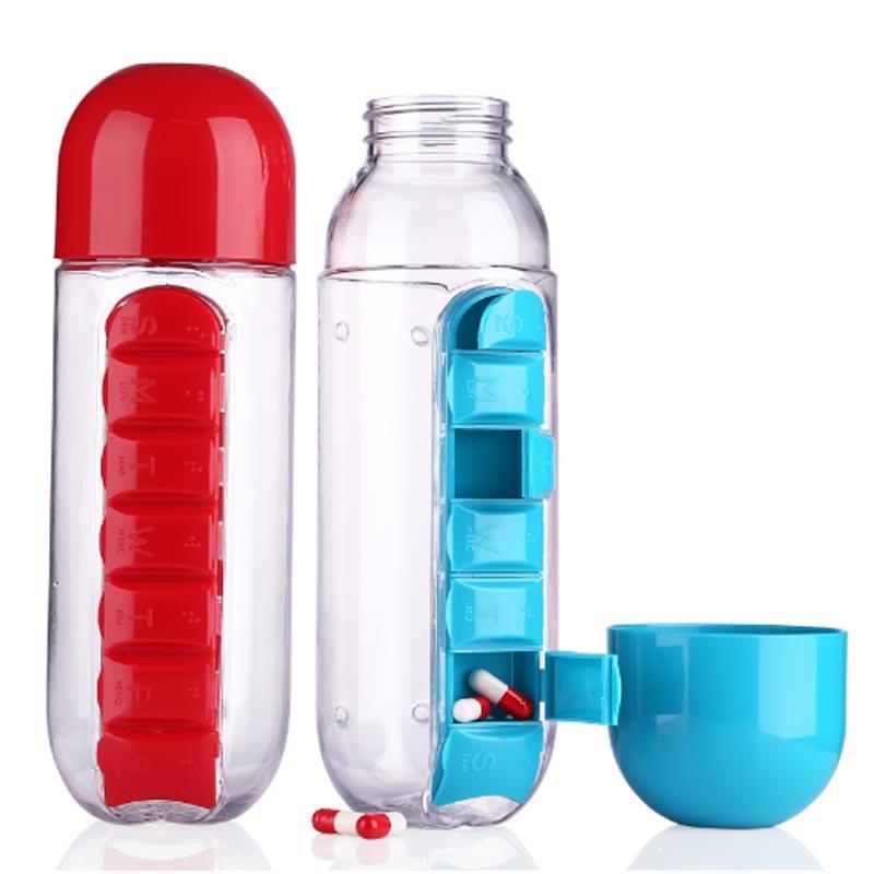 Pill n Vitamin Organizer Water Bottle - 600ml