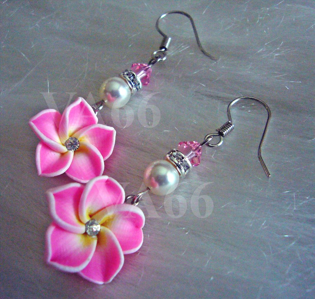 Pink Flower Earrings with Swarovski Crystals and Pearls