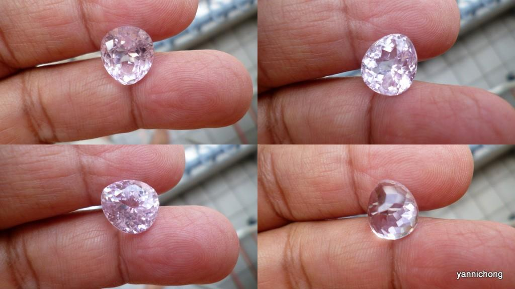 PINK KUNZITE CRYSTAL OVAL CUT