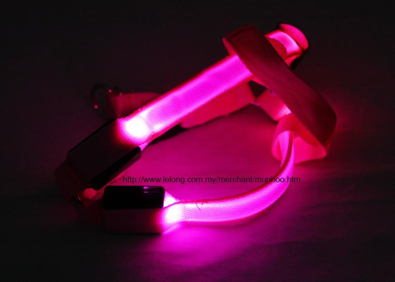 Pink LED Pet Dog Neck Chest Collar Harness Strap Buckle Lock Size S