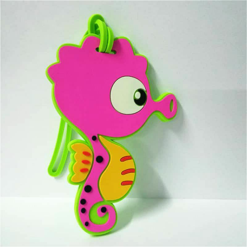 Pink Seahorse Luggage Tag