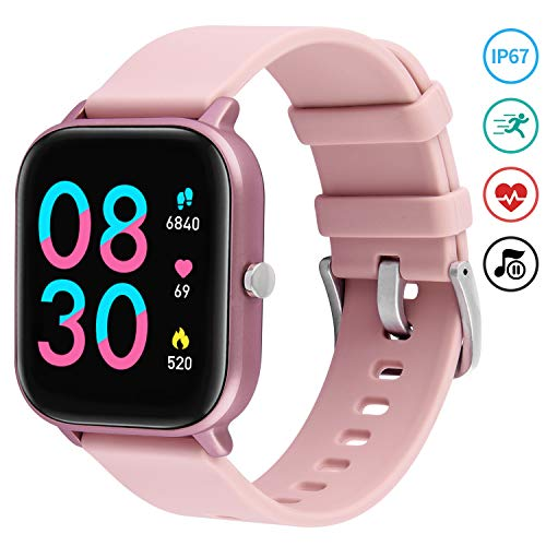 Pink Smart Watch, Fullmosa 1.4 inch Touch Screen Fitness Tracker Watch with He