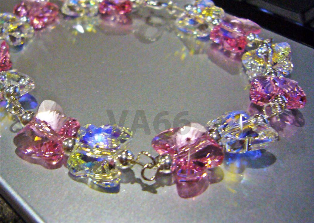 Pink Wire Wrapped 925 Silver Swarovski Crystal Butterfly Bracelet. ‹ › 8694925ca41e