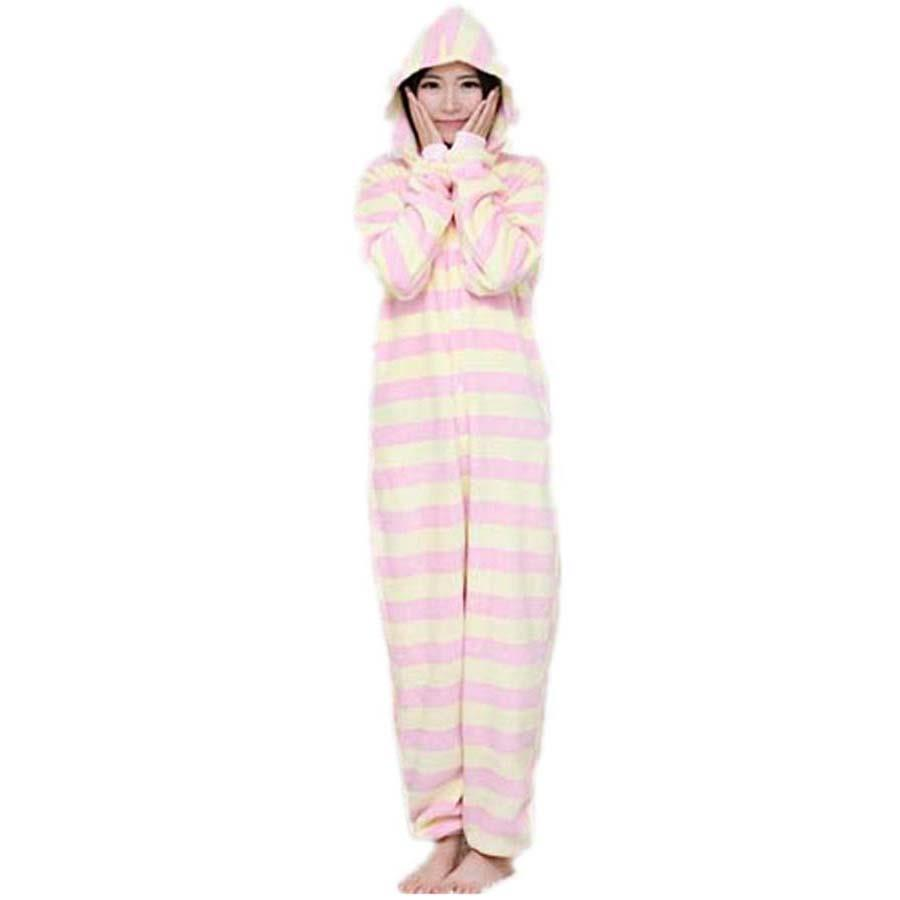 a3f5a08a863 Pink Yellow Stripes Cosplay Adult Costume Jumpsuit Onesies Rompers