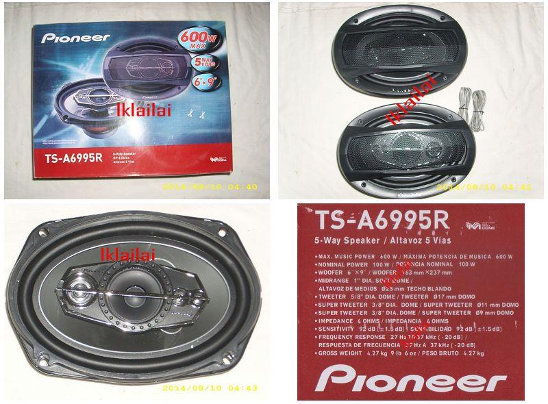 Pioneer TS-A6995R 6x9 5-Way 600W TS Series Coaxial Speakers