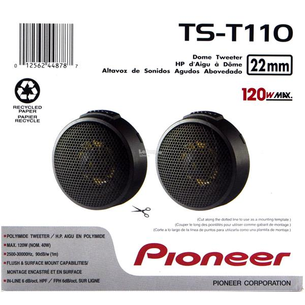 Pioneer TS-T110 7/8' 22mm PPTA Hard Dome Tweeter In-line HPF 40W RMS