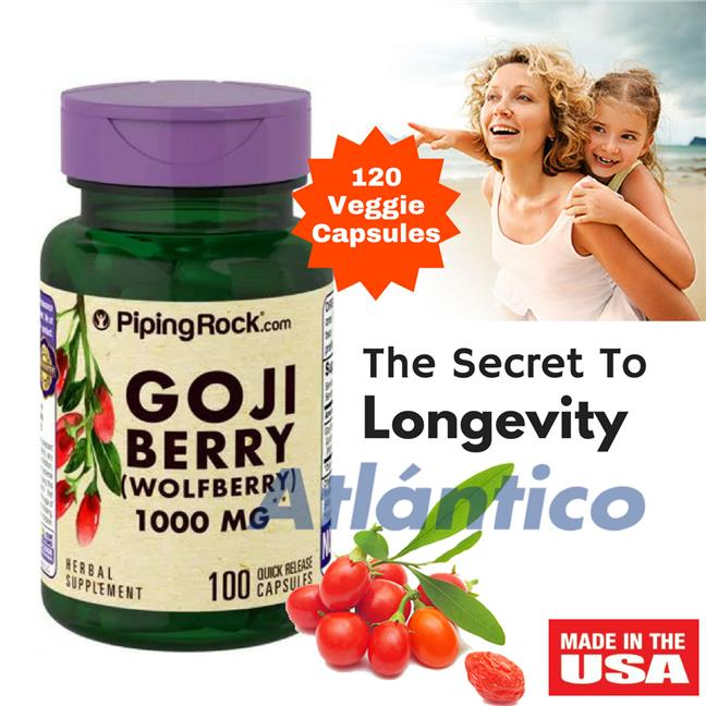 Piping Rock, Goji Berry (Wolfberry) 1000mg 100 Capsules