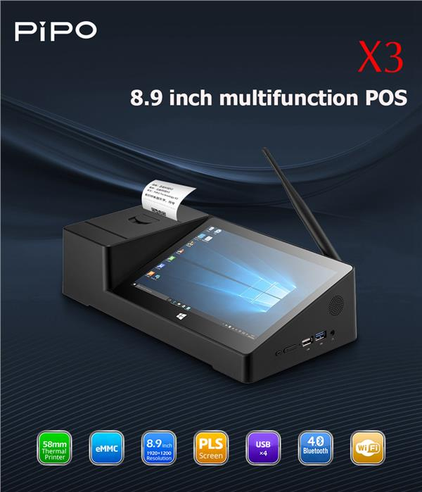 Pipo X3 Pos receipt printer System dual OS windows + andriod tablet PC