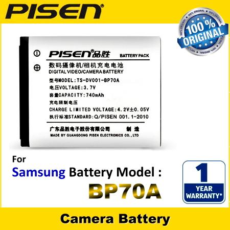 PISEN Camera Battery BP70A Samsung MV800 DV180F DV2014F ST6500 ST150F