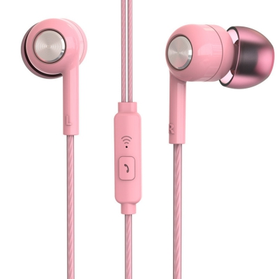 Piston In Ear Earphone Fresh Version Stereo With Mic Headset for Xiaomi (PINK)