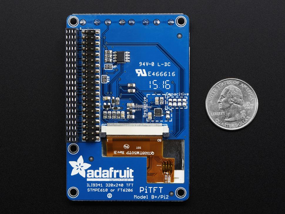 PiTFT Plus 320x240 2.8' TFT + Resistive Touchscreen for Raspberry Pi