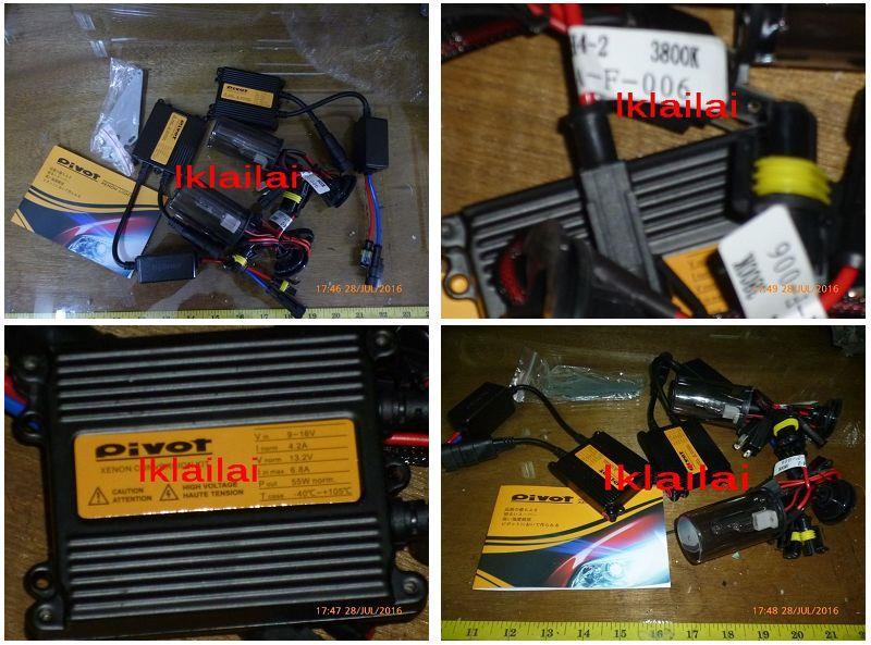 Pivot HID Conversion Kit 55W H1/H3/H4/H7/H8/H11/881/9005/9006 3800K
