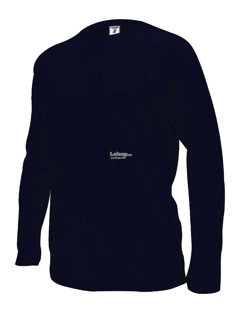 Plain Long Sleeve Round Neck T-shirt 100% Cotton - Navy Blue