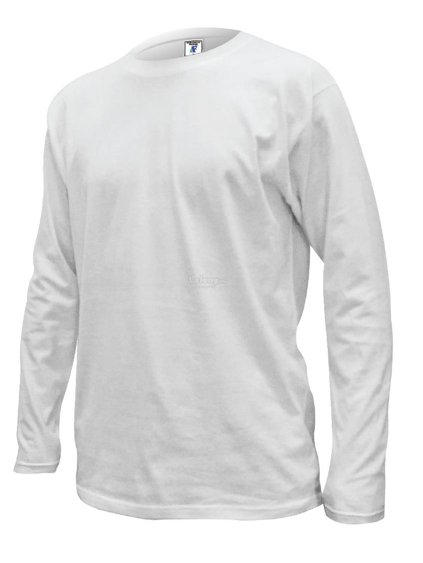 Plain Long Sleeve Round Neck T-shirt 100% Cotton - White