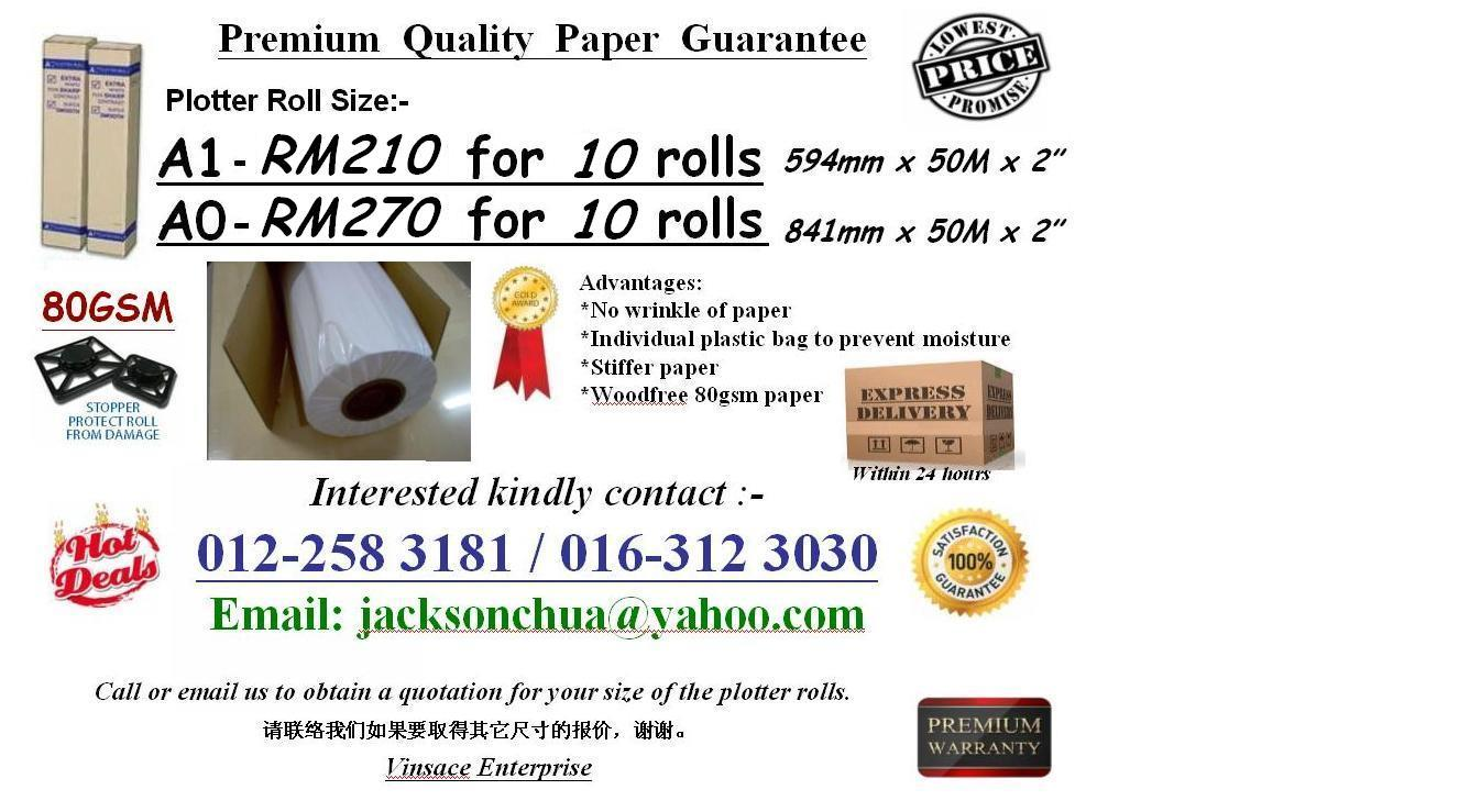 Plan Printing Paper / Plotter Roll (Size:AO 80gsm) OFFER!