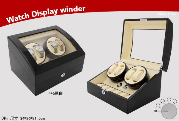 Plano Gloss Auto Watch Winder Rotate Display Storage Box (4+6)