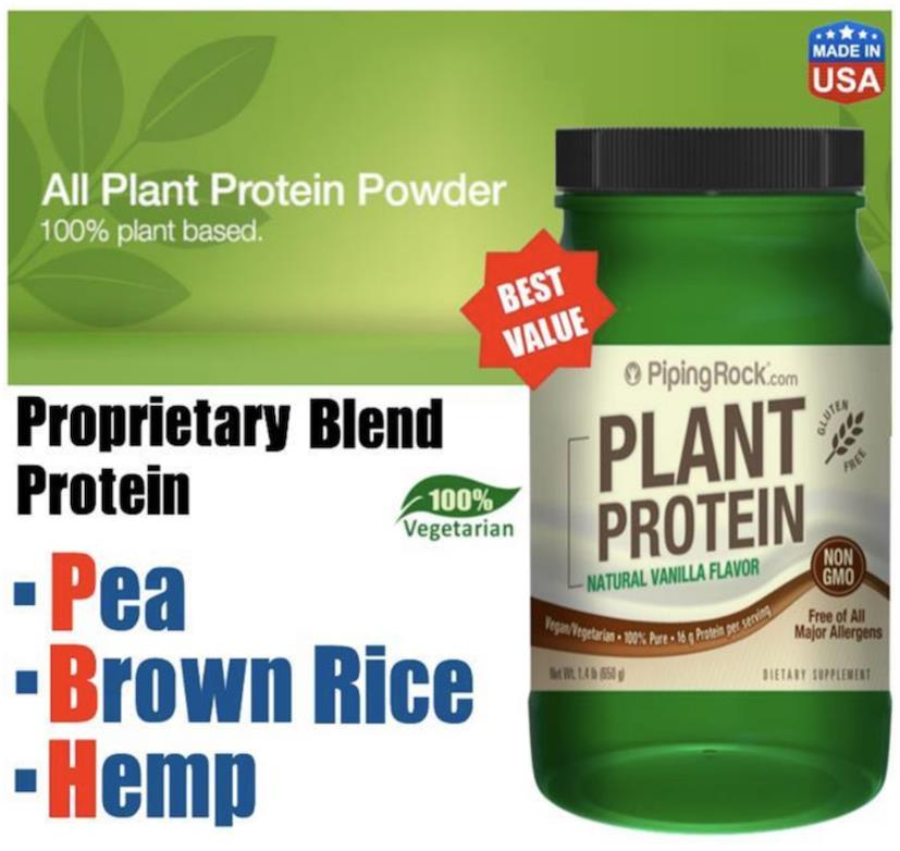 Top 10 Whey Protein 2020.Plant Protein 100 Pure 650g Vanilla Flavor Vegetarian Whey