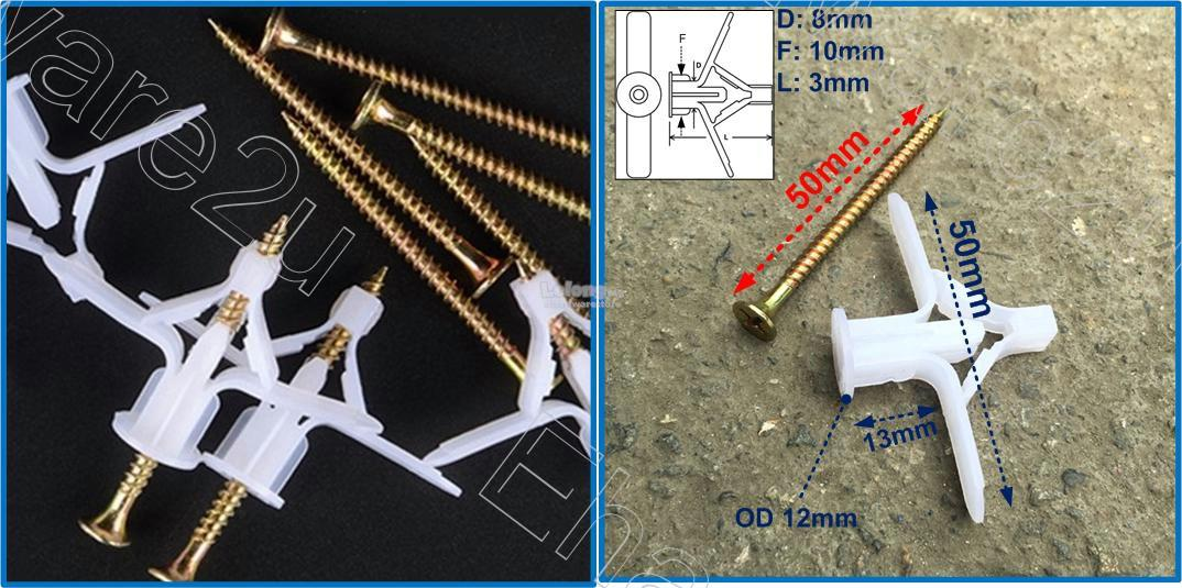 Plasterboard Nylon Wing Toggle Anchor With Screw Set 50Pcs (PBA8X50)