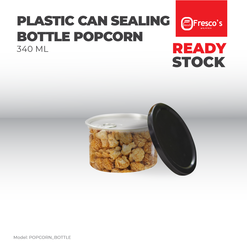 Plastic Can Sealing Bottle Popcorn 100mm x 62mm BUNDLE 66PC 340ml