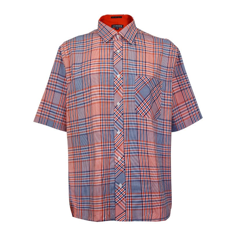PLATINUM BIG SIZE Checked SS Shirt PMP8104 (Orange)