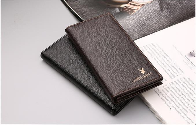 Playboy Men Leather Wallet Vertical Long Wallet Purse Free Gift Box