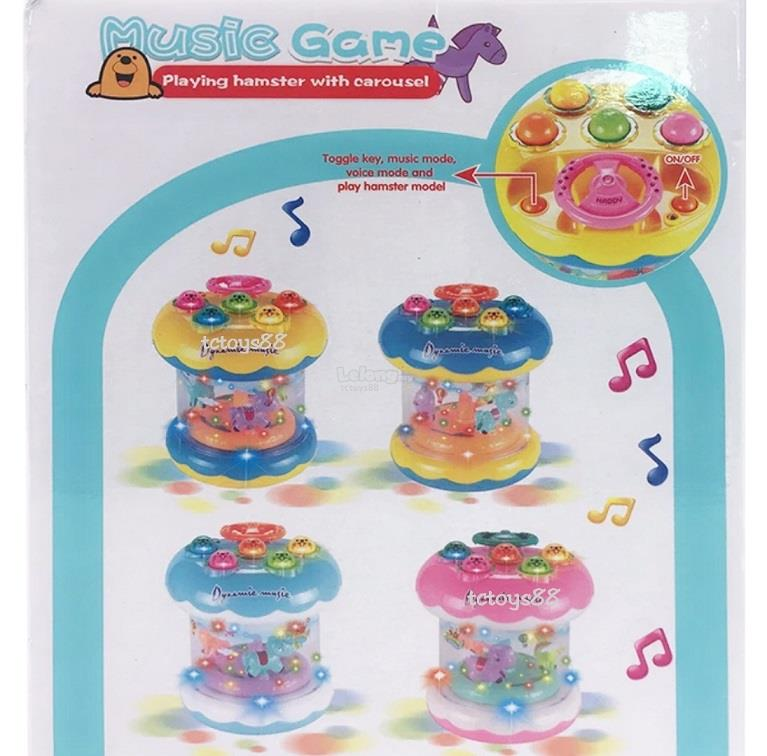 Playing Hamster Game Carosuel and Dynamic Kids Music Game Toys Lights