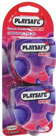Playsafe Condom Easy Pack Long Love + Ribbed Condom (Kondom) - 10's