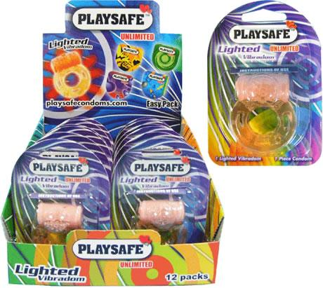 PLAYSAFE LIGHTED VIBRADOM + CONDOM (KONDOM) - 1 unit