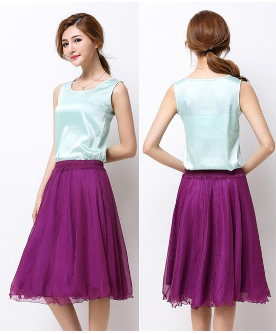 Pleated Watkins Chiffon Skirt (Purple)