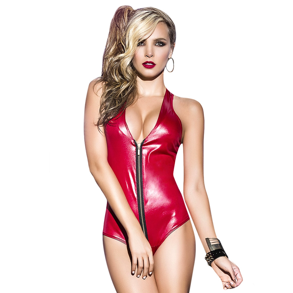 PLUNGING NECK ZIPPERED FAUX LEATHER RACERBACK TEDDY LINGERIE FOR WOMEN