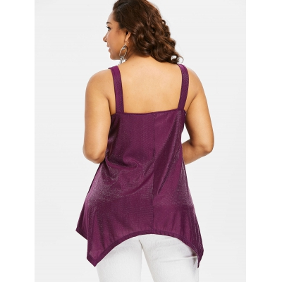Plus Size Beaded Embroidered Swing Tank Top (RED WINE)