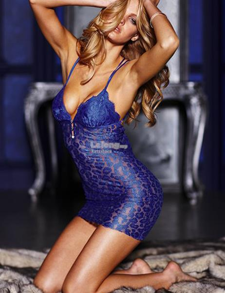 Plus Size Chemise Blue Dress  nightwear lingerie big size