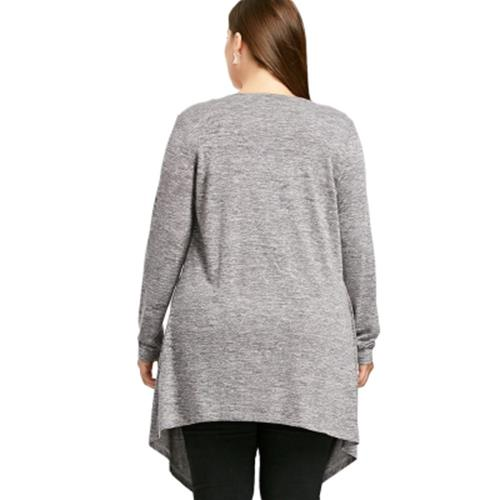 PLUS SIZE CROSSOVER MARLED TUNIC TOP (GRAY)