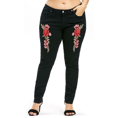 2a279dd30a1 Plus Size Embroidery Ripped Knee Jeans (BLACK)