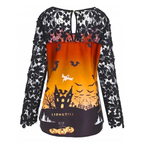 plus size halloween lace panel asymmetrical t shirt orange