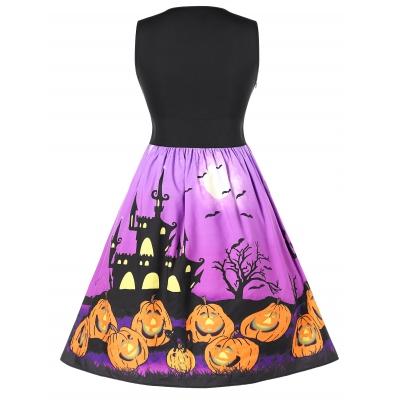 9dfc45d17b942 Plus Size Halloween Pumpkin Print Flare Dress (BLACK)
