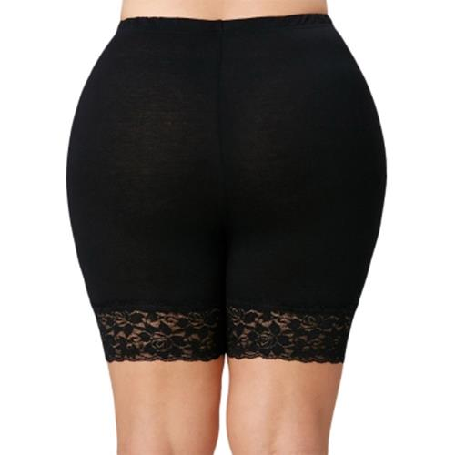 PLUS SIZE LACE INSERT SHORT LEGGINGS (BLACK)