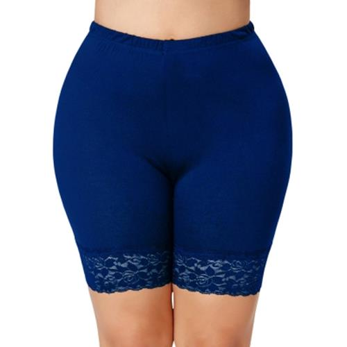 PLUS SIZE LACE INSERT SHORT LEGGINGS (BLUE)