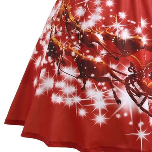 28ae814d7815 PLUS SIZE LACE PANEL FATHER CHRISTMAS MIDI PARTY DRESS (RED)